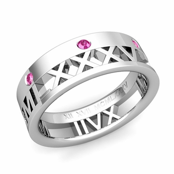 Love More Roman Numeral Pink Sapphire Wedding Band in Platinum, 7mm
