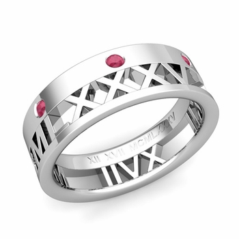 Love More Roman Numeral Ruby Wedding Band in 14k Gold, 7mm
