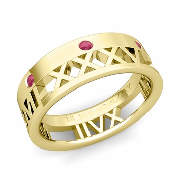 Love More Roman Numeral Ruby Wedding Band in 18k Gold, 7mm