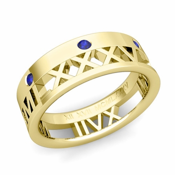 Love More Roman Numeral Sapphire Wedding Band in 18k Gold, 7mm