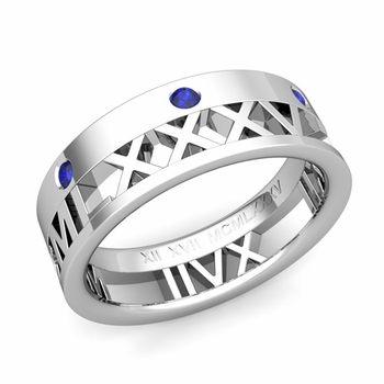 Love More Roman Numeral Sapphire Wedding Band in Platinum, 7mm