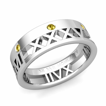 Love More Roman Numeral Yellow Sapphire Wedding Band in Platinum, 7mm