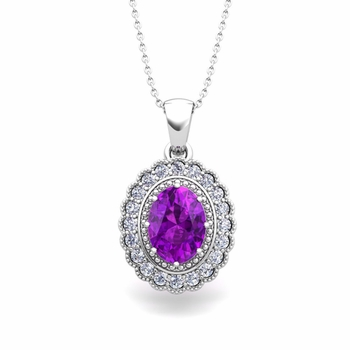 Lace Diamond and Amethyst Necklace in 14k Gold Halo Pendant 8x6mm
