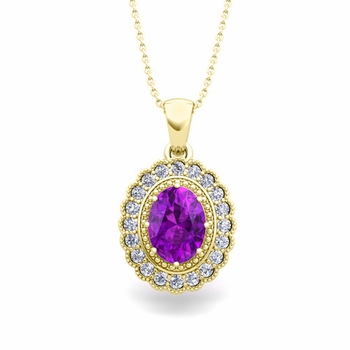 Lace Diamond and Amethyst Necklace in 18k Gold Halo Pendant 8x6mm