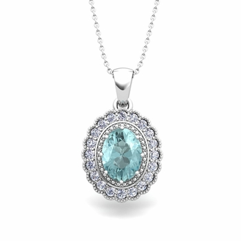 Lace Diamond and Aquamarine Necklace in 14k Gold Halo Pendant 8x6mm