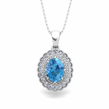 Lace Diamond and Blue Topaz Necklace in 14k Gold Halo Pendant 8x6mm