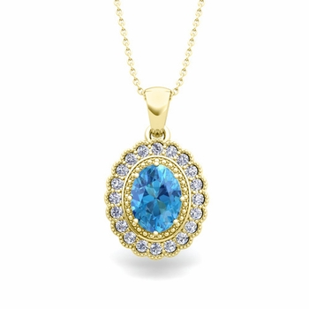 Lace Diamond and Blue Topaz Necklace in 18k Gold Halo Pendant 8x6mm