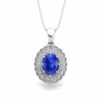 Lace Diamond and Ceylon Sapphire Necklace in 14k Gold Halo Pendant 8x6mm