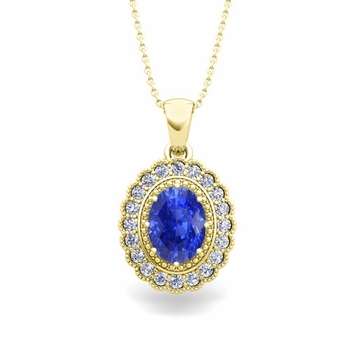 Lace Diamond and Ceylon Sapphire Necklace in 18k Gold Halo Pendant 8x6mm