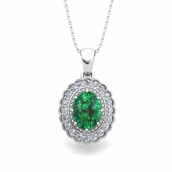Lace Diamond and Emerald Necklace in 14k Gold Halo Pendant 8x6mm