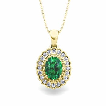 Lace Diamond and Emerald Necklace in 18k Gold Halo Pendant 8x6mm