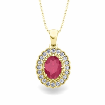 Lace Diamond and Ruby Necklace in 14k Gold Halo Pendant 8x6mm