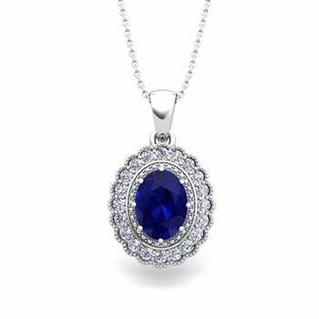 Lace Diamond and Sapphire Necklace in 14k Gold Halo Pendant 8x6mm