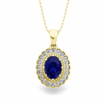 Lace Diamond and Sapphire Necklace in 18k Gold Halo Pendant 8x6mm
