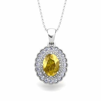 Lace Diamond and Yellow Sapphire Necklace in 14k Gold Halo Pendant 8x6mm