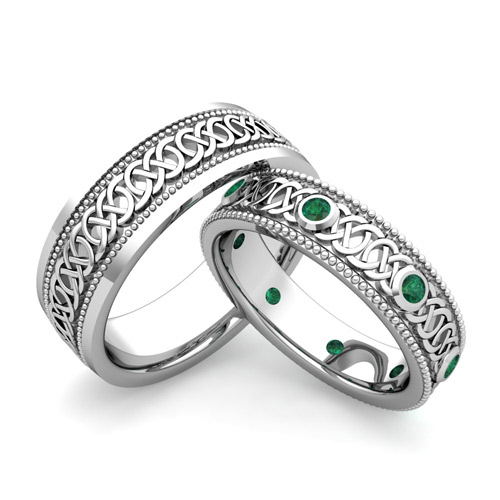 His Hers Celtic Wedding Band In 18k Gold Milgrain Emerald Ring