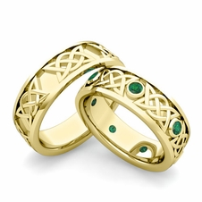 Matching Celtic Wedding Bands in 18k Gold Emerald Comfort Fit Ring