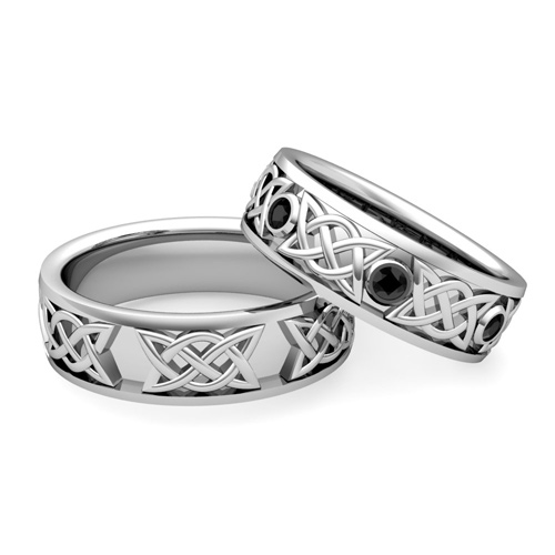 Order Now Ships On Tuesday 11 20order In 12 Business Days Matching Celtic Wedding Bands Platinum Black Diamond Comfort