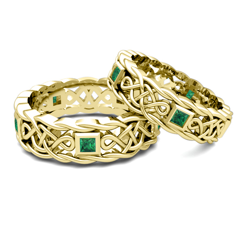 His Hers Wedding Band In 14k Gold Celtic Emerald Wedding Ring