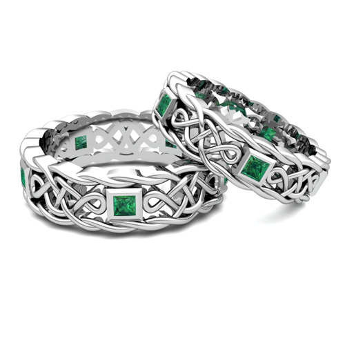 Order Now, Ships On Wednesday 8/22Order Now, Ships In 12 Business Days.  Matching Celtic Knot Wedding Band In Platinum Emerald Wedding Ring