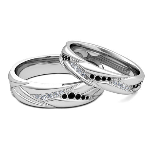 His Her Matching Wedding Ring Bands in 14k Gold Black Diamond Ring