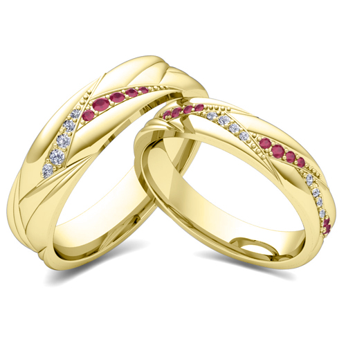 Order Now Ships On Friday 7 20order In 5 Business Days Matching Wave Wedding Band 14k Gold Ruby And Diamond Ring