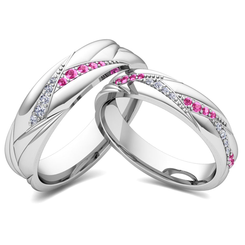His Her Matching Wedding Bands 18k Gold Pink Sapphire Diamond Ring