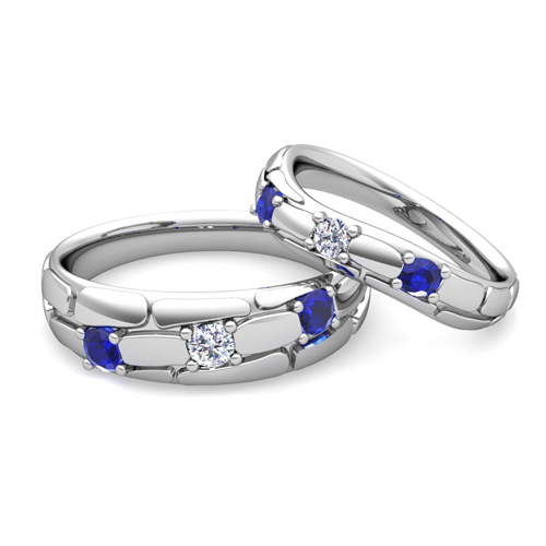 His Hers Wedding Anniversary Ring Diamond Blue Sapphire 14k Gold