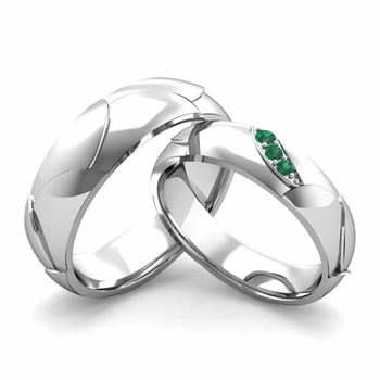 Matching Wedding Band in 14k Gold 3 Stone Emerald Wedding Rings