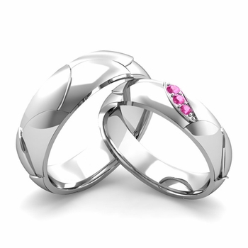 Matching Wedding Band in 14k Gold 3 Stone Pink Sapphire Wedding Rings