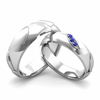 Matching Wedding Band in 14k Gold 3 Stone Sapphire Wedding Rings