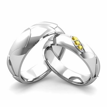 Matching Wedding Band in 14k Gold 3 Stone Yellow Sapphire Wedding Rings