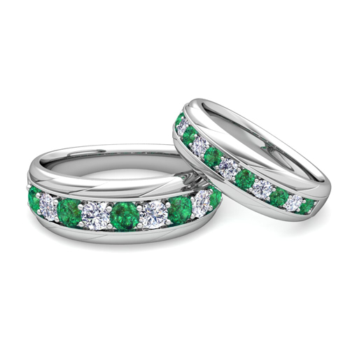 His and Her Wedding Band 14k Gold Pave Emerald Wedding Rings