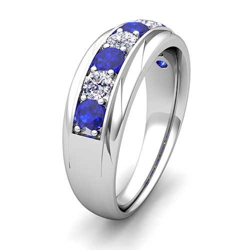 His and Her Wedding Band 14k Gold Pave Sapphire Wedding Rings
