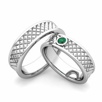 Matching Wedding Band in 14k Gold Emerald Fancy Wedding Rings