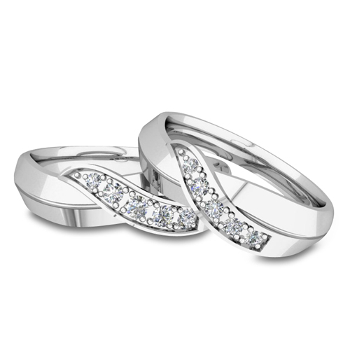 His And Her Matching Wedding Bands 14k Gold Infinity Diamond Ring