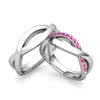 Matching Wedding Band in 14k Gold Pink Sapphire Infinity Wedding Rings