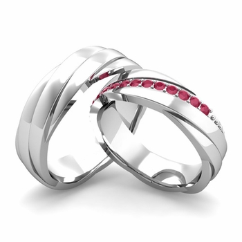 Matching Wedding Band in 14k Gold Ruby Rolling Wedding Rings
