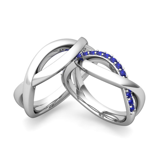 Matching Wedding Bands Sapphire Infinity Wedding Ring in 14k Gold