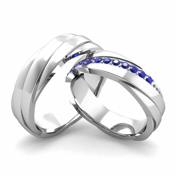Matching Wedding Band in 14k Gold Sapphire Rolling Wedding Rings
