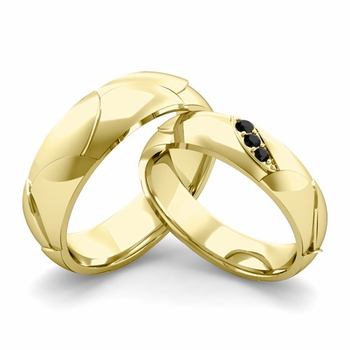 Matching Wedding Band in 18k Gold 3 Stone Black Diamond Wedding Rings