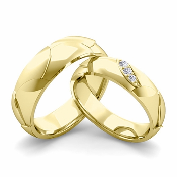 Matching Wedding Band in 18k Gold 3 Stone Diamond Wedding Rings
