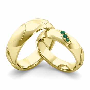 Matching Wedding Band in 18k Gold 3 Stone Emerald Wedding Rings
