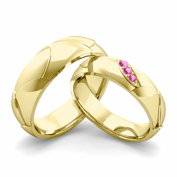 Matching Wedding Band in 18k Gold 3 Stone Pink Sapphire Wedding Rings
