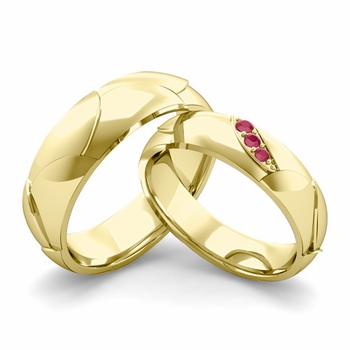 Matching Wedding Band in 18k Gold 3 Stone Ruby Wedding Rings