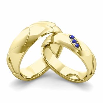Matching Wedding Band in 18k Gold 3 Stone Sapphire Wedding Rings