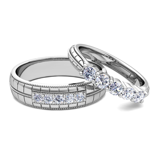 Milgrain 5 Stone Wedding Ring Set