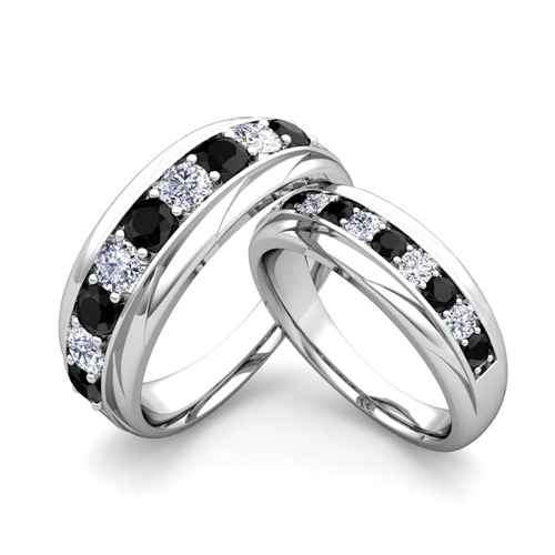 His And Hers Wedding Band 18k Gold Black Diamond Wedding Rings