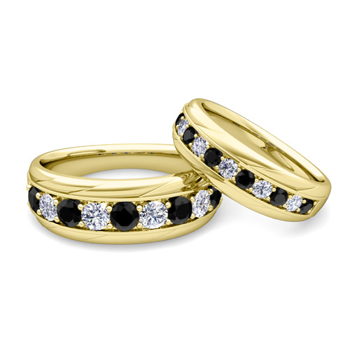 Black And Gold Wedding Band | His And Hers Wedding Band 18k Gold Black Diamond Wedding Rings