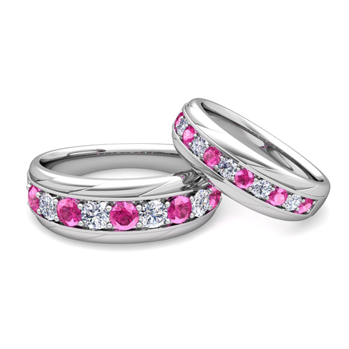 His and Hers Wedding Band 18k Gold Pink Sapphire Wedding Rings